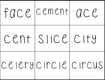 Soft /c/ Hard /c/ Word Sort