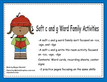 Soft c and g Word Work Activities