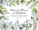 Soft watercolor flowers with outline, mint, green, blue
