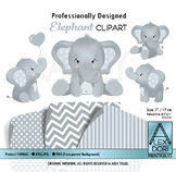 Soft white and gray elephant clipart.