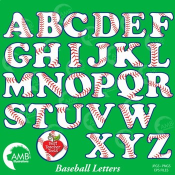 Softball and Baseball Clipart Letters and Numbers Combo Bundle, AMB-1725