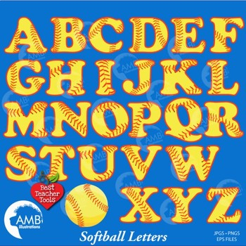 Softball Letters and Numbers Combo Bundle, AMB-1726