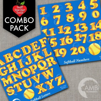 Softball and Baseball Clipart Letters and Numbers Combo Bu