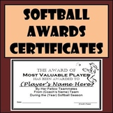 Softball Awards Certificates & Nomination Ballots - 9 Different Awards