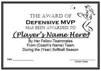 softball awards certificates nomination ballots 9 different awards