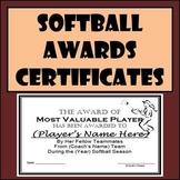 Softball Awards Certificates & Nomination Ballots - 9 Different Awards