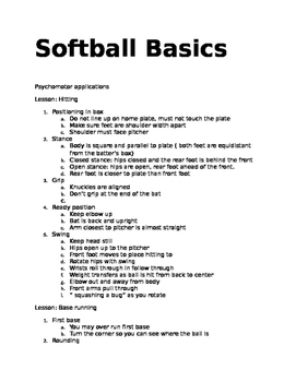 Softball Basics 2 ( hitting & base running)