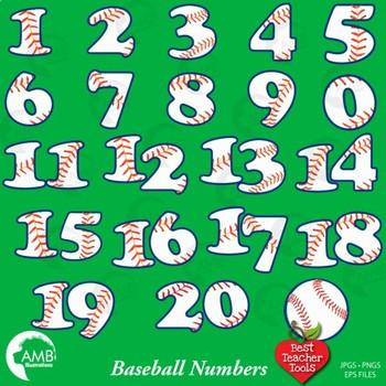 Softball Clipart, Baseball Clipart, Numbers Clipart, Sports Team, AMB-405