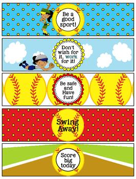Softball Girl Lunchbox Notes, Jokes, and Bottle Wraps