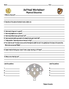 Softball Handout and Worksheet