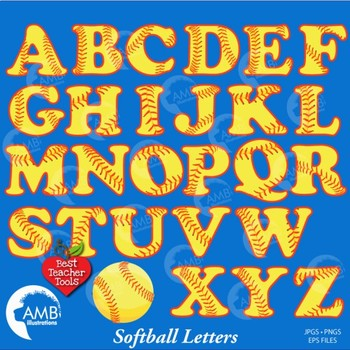 Softball and Baseball Letters, Alphabet Clipart, Sports Clip Art, AMB-819