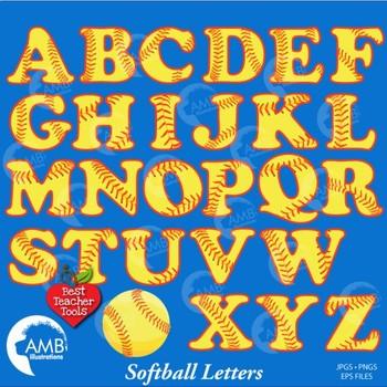 Softball Letters, Alphabet Clipart, Sports Clip Art, AMB-819