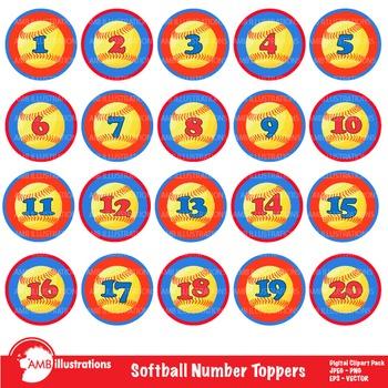 Softball Clipart, Numbers Clipart, Badges Clip Art, Sports Clipart, AMB-821