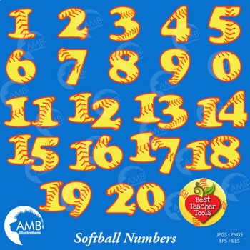 Softball Clipart, Baseball, Clipart, Numbers Clipart, Sports Clipart, AMB-820