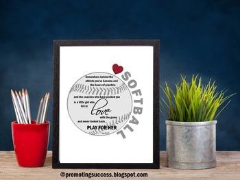 Softball Coach Gift Ideas ~ Softball Player Motivational Quote Poster