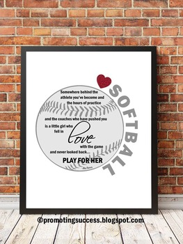 Softball Theme Classroom ~ Softball Player Motivational Quote Poster