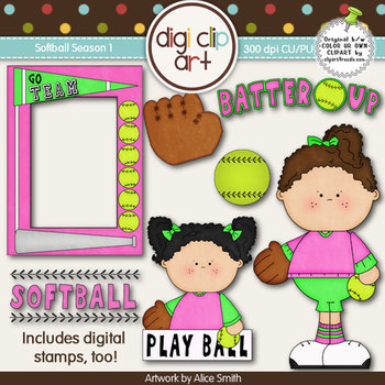 Softball Season 1 -  Digi Clip Art/Digital Stamps - CU Clip Art