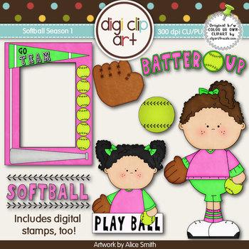 Softball Season 1 -  Digi Clip Art/Digital Stamps - CU Clip Art