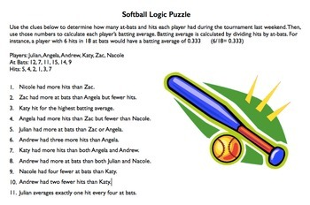 Softball Statistics Logic Puzzle, Critical Thinking, Calculating Batting Average