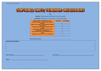 Softball Teachers Assessment Sheet