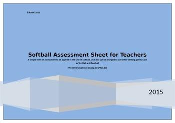 Softball Teachers Assessment Sheet