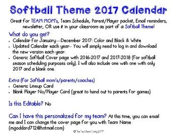 Softball Theme Calendar: 12 months: Color and B&W