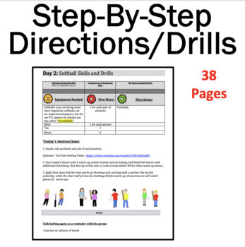 Softball Unit: 3 Weeks of  Lessons From the #1 P.E. Curriculum on TPT!