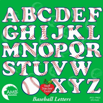 Softball and Baseball Letters Clipart, Sports Alphabet Clipart, AMB-803