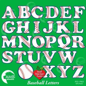 Softball / Baseball Letters Clipart, Sports Alphabet Clipart, AMB-803