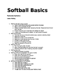 Softball basics: (cues, applications, helpful teaching points)