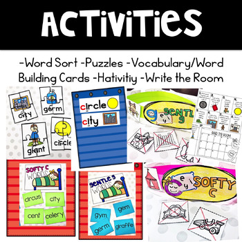 Softy C and Gentle G (Activities for learning soft c and g)