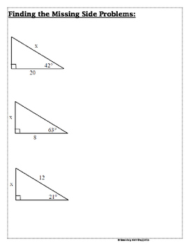 Right Triangles -Soh Cah Toa (Sin, Cos, Tan) Intro To Trigonometry Notes & Prac.