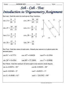 Right Triangles -Soh Cah Toa (Sin, Cos, Tan) Intro To Trigonometry Notes &  Prac