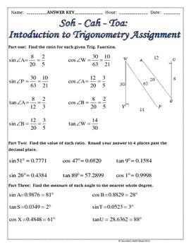 Right Triangles -Soh Cah Toa (Sin, Cos, Tan) Intro To Trigonometry Notes &  Prac