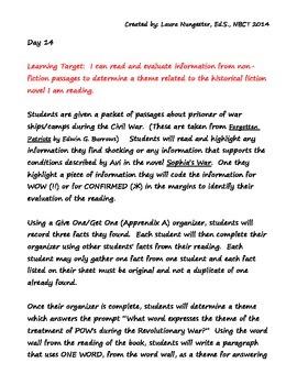 Sohpia's War - Part 2 Lesson Plan/Assessment/Writing