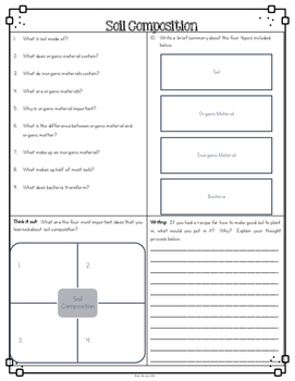 Soil Composition Differentiated Reading Passages & Questions