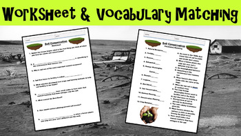 Soil Conservation No Prep Lesson with Power Point, Worksheet, and Vocab Activity