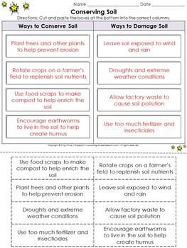 Soil: Conserving Soil Cut and Paste Activity - Ways to Conserve Soil