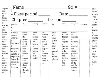 Soil Formation Vocabulary Flip Book