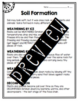 Soil Formation Worksheet by For the Love of Birds | TpT