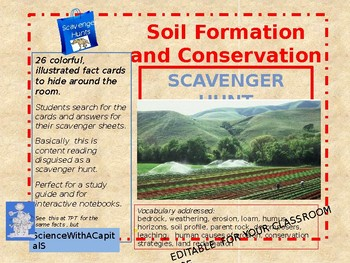 Soil Formation and Conservation Scavenger Hunt - Fully Editable