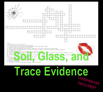 Forensic Soil, Glass, and Trace Evidence Crossword Puzzle Review