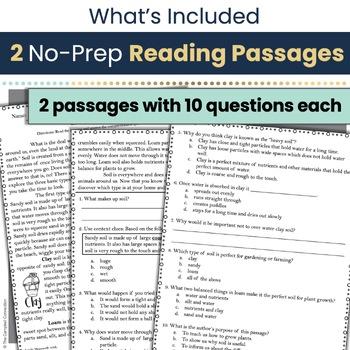 Soil Nonfiction Reading Comprehension Passages and Questions
