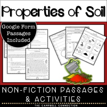 Soil Nonfiction Reading Comprehension Passages and Activities