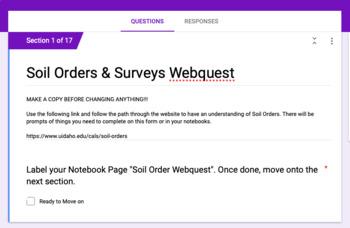 Soil Orders and Soil Surveys WebQuests