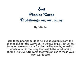 Soil Phonics Cards: Diphthongs ou, ow, oi, oy