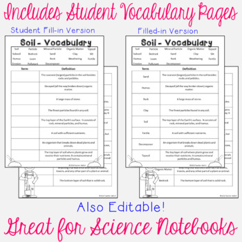 Soil Vocabulary Word Wall and Student Vocabulary Pages