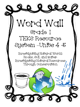 Soil, Water, Rocks, Natural Resources Through Conservation, Gr. 1 Word Wall