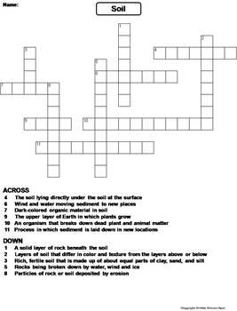 Properties of Soil Worksheet/ Crossword Puzzle