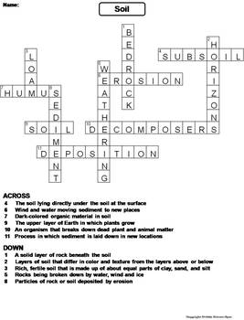 properties of soil worksheet crossword puzzle by science